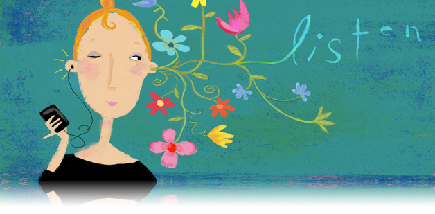 Judy Stead illustration of woman with MP3 player listening to music