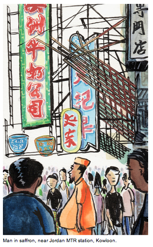 Hong Kong sketch by Michael Sloan of man in saffron robe.