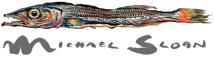 Michael Sloan Signature and fish illustration