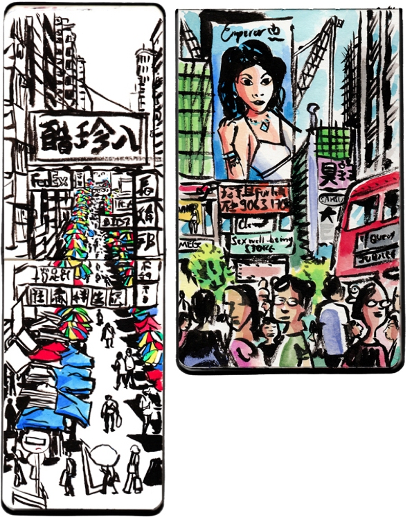Hong Kong street scenes sketches by Michael Sloan