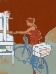 KBH64.jpg Girl standing with bicycle and boxes of
