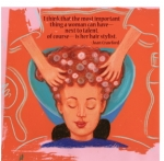 KBH71.jpg On a bright salmon colored background a woman is having her hair shampooed;she has her eyes closed as she enjoys being pampered by the hands of her stylist. She is surrounded by graphic line drawings of styling tools: mirror, shampoo bottle. At the top is a quote from Joan Crawford: