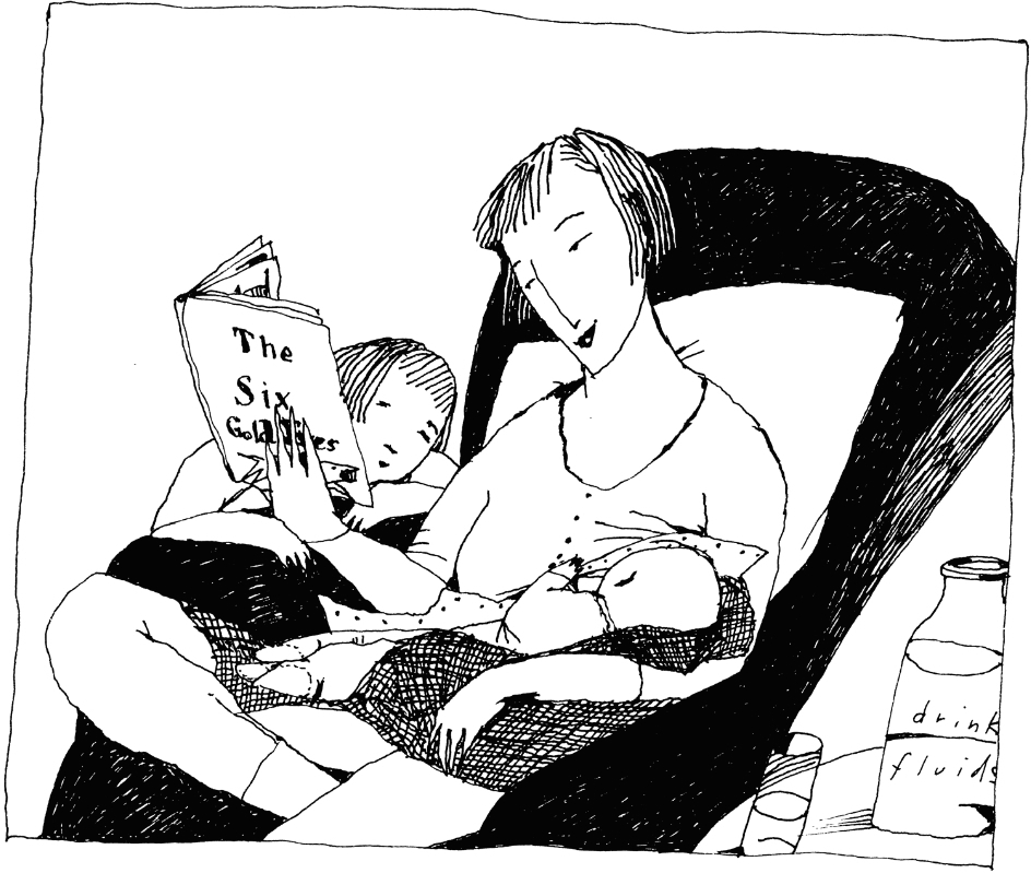 A nursing mother, storytelling, by Blair Thornley